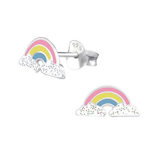 Laimons Kids, orecchini per bambini, gioielli per bambini, fascia luminosa a forma di arcobaleno con glitter bianco in argento sterling 925