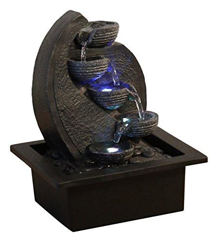 Zen'Light Cascade-V2 Fontaine d'Intérieur, Polyrésine, Noir, 17 x 21 x 26 cm