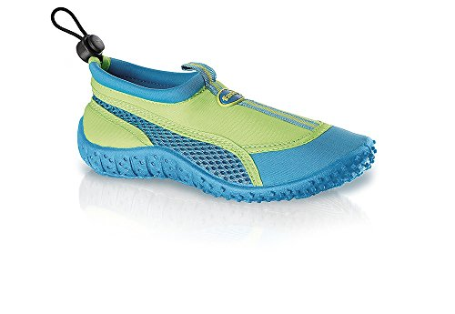 fashy® Kinder Outdoor Sport- und Schwimmschuhe Aquaschuhe aus Neopren und Mesh mit TPR-Sohle (Made In Germany) Grün/Türkis 31