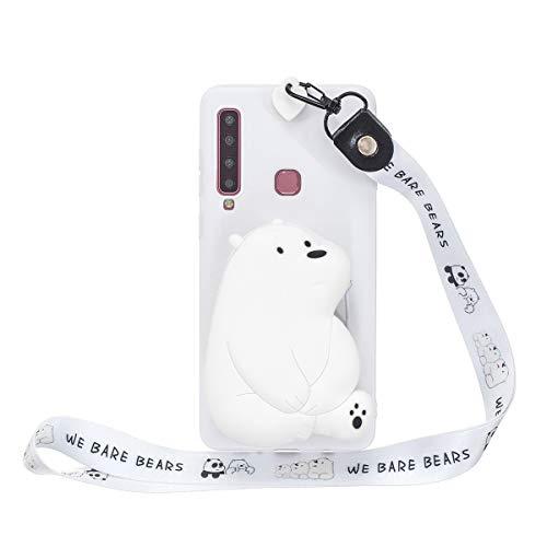 WOOHOO Handyhüllen Kompatibel mit Samsung A9 2018/A920 Hülle Eisbär (Schlüsselband lang) 3D Cartoon Silikon Tiere Schutzhülle Süß Case Cover Mit Gurt für Frauen Kinder - Weiß