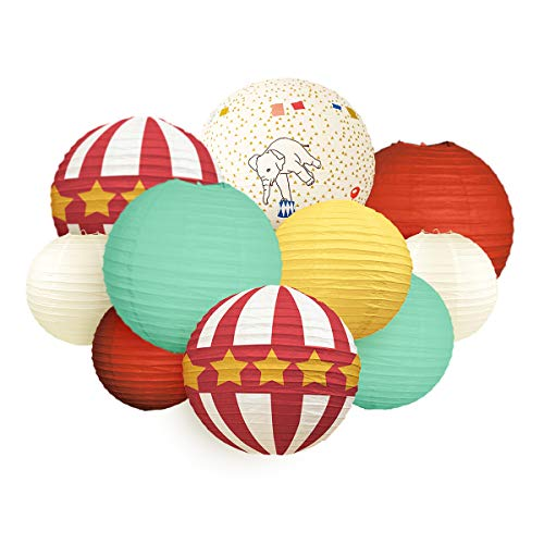 NICROLANDEE Suministros de decoración de fiesta de circo, linternas de papel rojo y blanco, antiguas para juegos de carnaval, fiesta de cumpleaños, fiesta de bebé, decoración de fiesta (circo retro)