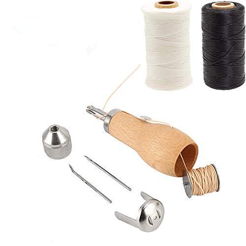 Kit Juego de Herramientas de Costura de Cuero,Juego de Herramientas de Costura de Cuero con Hilo Artesanal de Cuero, Punzon, Agujas de Coser a Mano para Costura y Manualidades