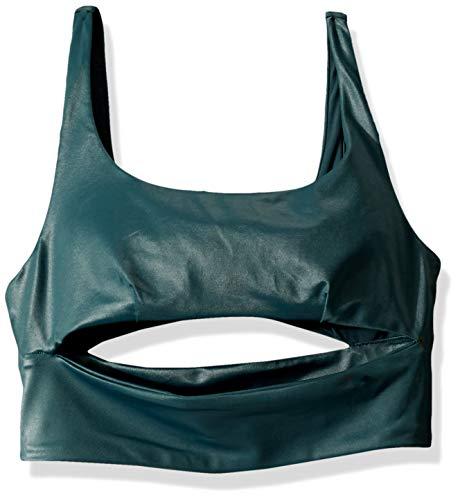 Alo Yoga Women's Slit Shine Bra, Green, One Size
