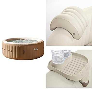 Intex 77in PureSpa Portable Bubble Massage Spa Set and PureSpa Headrest and PureSpa Cup Holder, 2 Standard Size Beverage Containers
