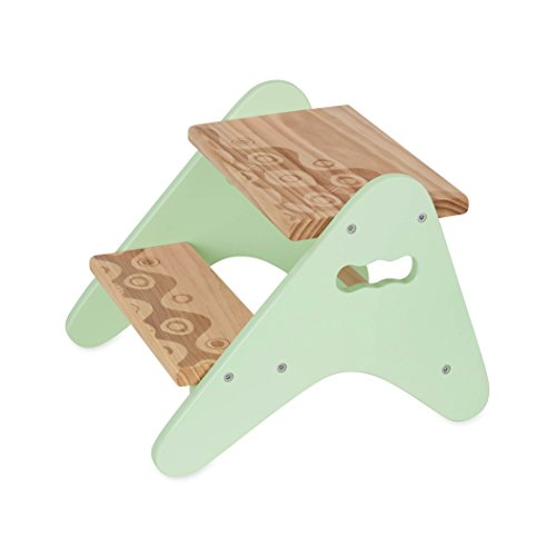 B. spaces by Battat – Peek-A-Boost – Wooden Two-Step Stool – Mint & Wood