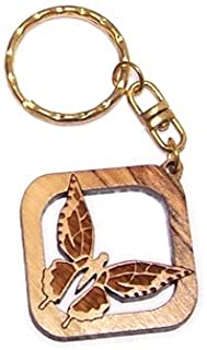 Holy Land Market Butterfly Olive wood Key Chain (3.8cm cm or 1.5