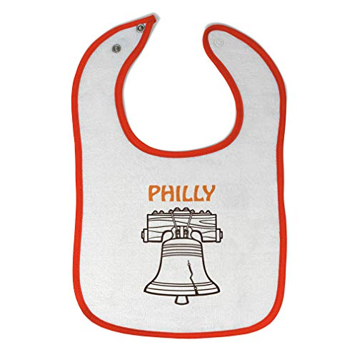 Toddler & Baby Bibs Burp Cloths Liberty Bell Philly Philadelphia States City Silhouette Cotton Items for Girl Boy Gifts Af White Orange Design Only