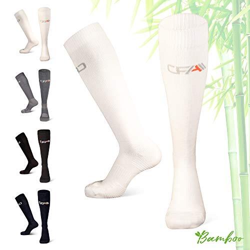 COMPRESSION FOR ATHLETES Hochwertige Bambus Kompressionsstrümpfe, Überlegenen, Flache Spitzennähte, Reduzieren das Risiko von Geschwollenen und Müden Beinen. Hergestellt in der EU (Weiss, Large)