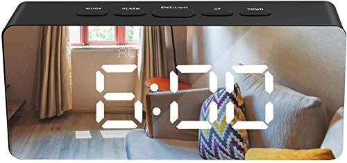 HUIQ Reloj Despertador con Espejo LED Reloj Despertador Digital HD con Dos Modos de alimentación y Modo de repetición 3 Pantallas LED con 5 Modos de atenuación para Dormitorio, Sala de Estar