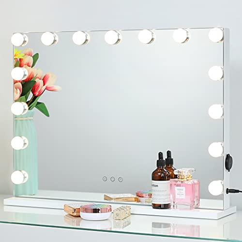 2-FNS Hollywood - Espejo de maquillaje con 15 luces LED, pantalla táctil, espejo cosmético con iluminación, 3 cambios de color, brillo ajustable, con USB, mesa o soporte de pared