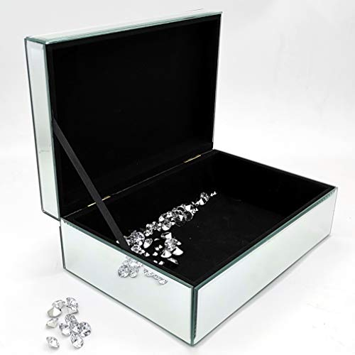qmdecor Glass Mirror Box in Silver Color for Jewelry Accessories,Elegant Storage Organizer Mirrored Box.Arrive in 3 to 5 Days