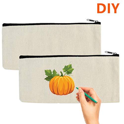 2PCS Cosmetic Bag Multipurpose Canvas Pencil Pouch Makeup Bag with Zipper Cotton Travel Make up Toiletry Pouch DIY Craft Bag Pencil Pen Storage Bag (White-2Pack)