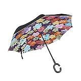SKYDA Parapluie inversé Double Couche Pliable en Papier Origami Japonais Coupe-Vent pour Voiture Pluie extérieure avec poignée...