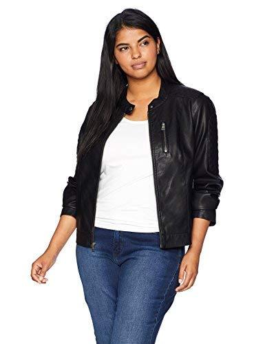 Levi's Women's Faux Leather Motocross Racer Jacket (Standard and Plus), Black, Large