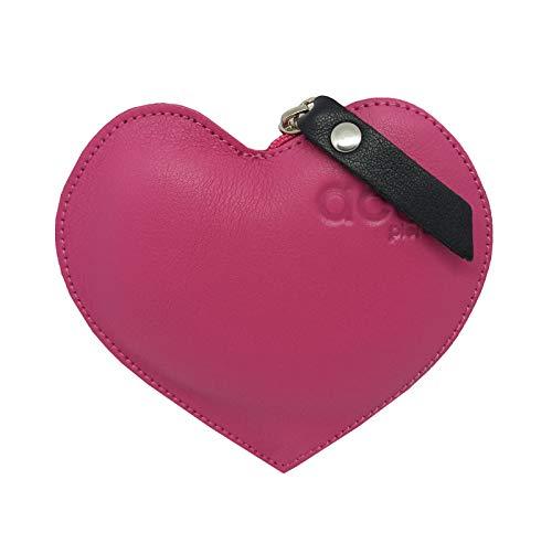 FIONCCI Monedero Mujer Piel Auténtica con Cremallera - Forma de Corazón y Bolsa de Regalo (Fucsia)