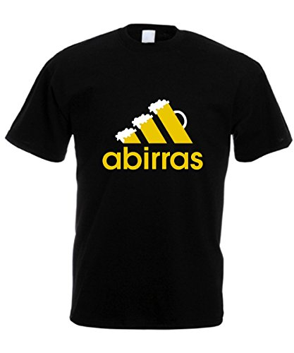 L'Arcobaleno di Luci T-Shirt Uomo - Abirras Parodia Divertente Logo con Birra - by (XL, Nero)