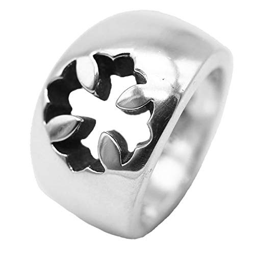 AMY-XCQ Anillo De Plata Esterlina 925 Cruz Ejército Flor Brillante Personalidad Simple Plata Tailandesa Retro Punk Estilo De Pareja,16
