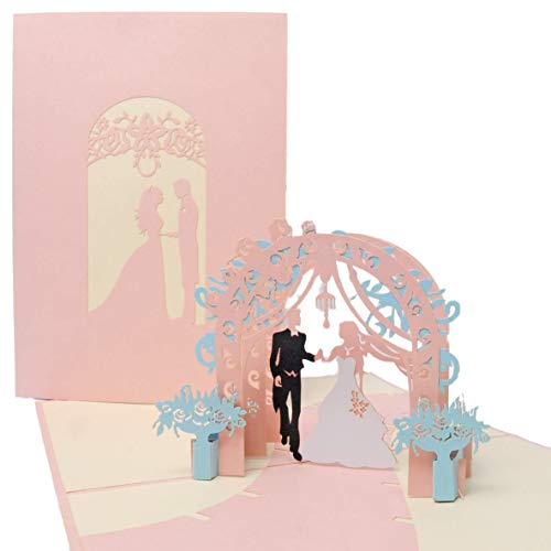 Favour - Biglietto di auguri pop-up per matrimonio con copertina romantica, interno una coppia di sposi sotto le rose, formato 13 x 18 cm TW045
