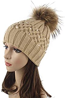 Hat Fashion Warmth with Ball Knit Hat Women's Pearl Double-Layer Thickening Outdoor Fashion Accessories (Color : Brown)