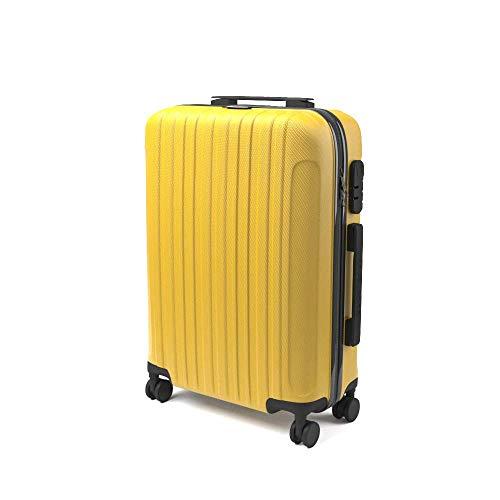 Eglemtek ABS Maleta Equipaje de mano cabina rígida ligera con 4 ruedas, 55cm ,trolley cáscara dura , amarillo