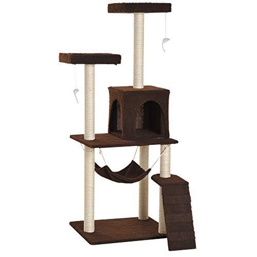 Pawhut Rascador para Gatos Árbol Rascador Grande Centro de Actividad Plataformas 73x58x150cm