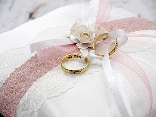 Satin Ringkissen | rosa, weiß - 4