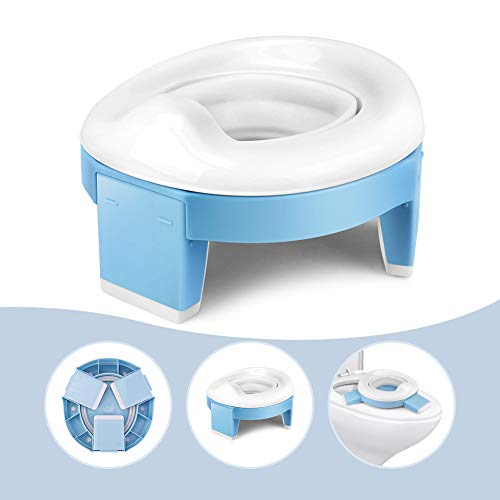 3-in-1 Go Portable Toddler Potty Seat for Travel, Folding Potty Training Toilet Chair with Travel Bag, Lightweight Potty Trainer for Travel Home Car Camping Use for Kids Baby
