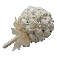TANGIST 持株花手作りのクリスタルのラインストーンパールの装飾サテンローズブライダルブーケ・ホールディングウェディングフラワーアレンジメント花嫁介添人のウェディングブーケ材質(カラー:クリーム、サイズ:19x27cm) 装飾 花園 婚礼の儀式