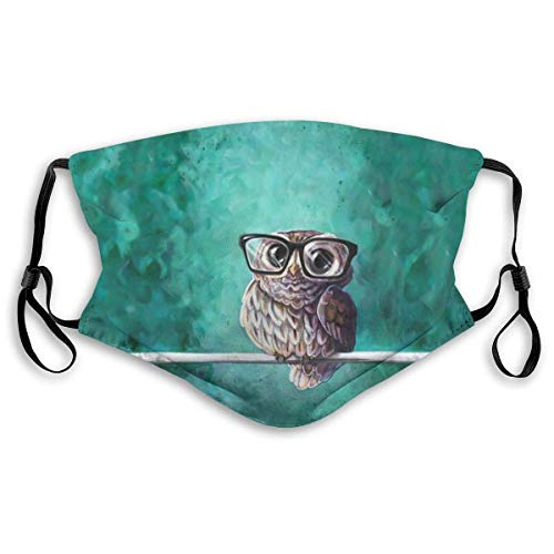 Face Mask with Replaceable PM2.5 Activated Carbon Mask for Running Daily Use Washable Breathable UV Protection Warm Mask Intellectual Owl Wearing Glasses Cute Animal