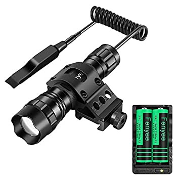 Fenyee 350 Yards Spotlight Floodlight Zoomable Adjustable Tactical Flashlight 1300 Lumen LED with Offerset Mount