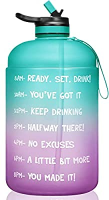 VUP 1 Gallon/128oz Motivational Water Bottle with Time Marker & Straw, BPA Free Leakproof Large Water Bottle Jug for Fitness Gym Camping Outdoor Sports (Green/Purple Gradient)