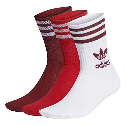 adidas Originals Socken Dreierpack MID CUT CREW GD3578 Weiss Rot, Size:37-39