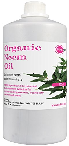 PINK SUN Organic Neem Oil for Skin and Hair 250ml 100% Pure Natural Cold Pressed Virgin Unrefined Concentrate Hair Care Nail Beauty Treatment