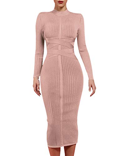 whoinshop Women's Cross Strap Ribbed Bandage Long Sleeve Midi Fall Winter Bodycon Party Dress Nude L