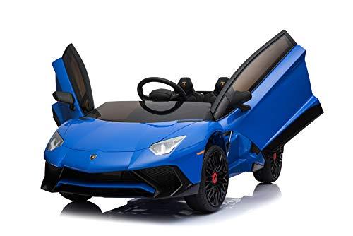 ES-TOYS Kinderfahrzeug - Elektro Auto Aventador SV - lizenziert - 12V7AH, 2 Motoren- 2,4Ghz Fernsteuerung, MP3, Ledersitz+Eva (Blau)