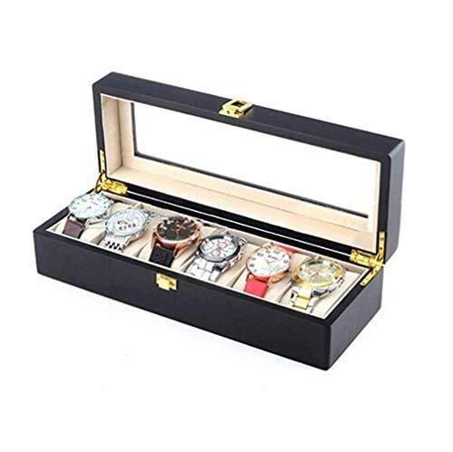 WYFX Caja de Reloj Organizador Casco Moda Almacenamiento de Relojes de Madera Mejor Soporte de Regalo 6 Rejillas