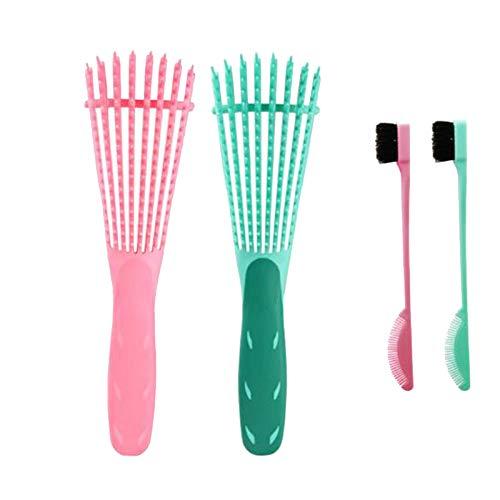 Kamenda Ensemble de pinceaux démêlants avec brosse double face, démêlant pour cheveux afro américains texturés 3A à 4C pour cheveux crépus humides/secs