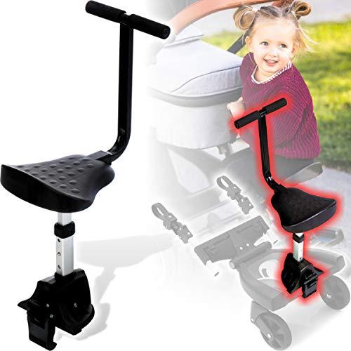 Buggy Board Trittbrett Mitfahrbrett universal passend für alle Kinderwagen Buggy Sportwagen Jogger/Zusatzsitz (Erweiterung) mit Sicherheitsgriff 3-fach höhenverstellbar (Zusatzsitz)