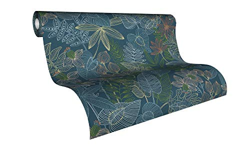 Livingwalls Vliestapete Colibri Tapete in Dschungel Optik 10,05 m x 0,53 m blau grün gelb Made in Germany 366301 36630-1