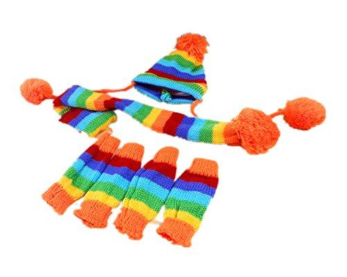 Fully 3pcs/Set Haustier Strickmütze Schal Halsschal Bein Wärmer Beinlinge Pom Pom Kleidung Warm Winter (XXS, Regenbogen)