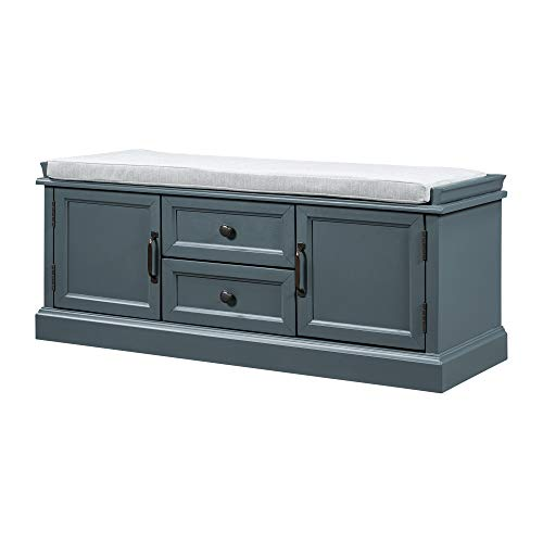 Knocbel Classic Storage Bench Wooden Cabinet with Removable Cushion Storage Compartment 2-Drawer 2-Door Fully Assembled 175 H x 429 L x 159 W Dark Blue