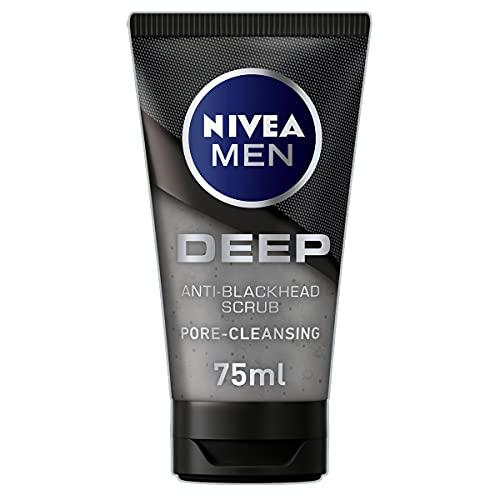 NIVEA MEN DEEP Anti-Blackhead Scrub (75 ml), Charcoal Blackhead Remover,...
