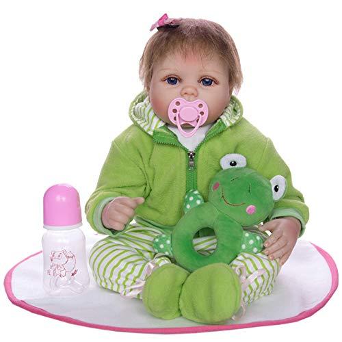 XYSQWZ Muñeca De Simulación - 55cm Rebirth Baby Cute Frog Clothes Suit Y Girl Doll Reborn 22'Full Silicone Vinyl Body Niños Play House Toys Gift 1214