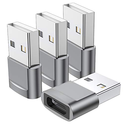 USB C Female to USB Male Adapter (4-Pack),Type C to USB A Charger Cable Adapter,Compatible with iPhone 11 12 Pro Max,iPad 2020,Samsung Galaxy Note 10 S20 Plus S20+ Ultra,Google Pixel 4 3 2 XL(Grey)