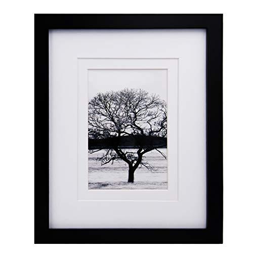 Egofine Marco de fotos de madera maciza para colgar y colocar de pie, con plexiglás HD de plexiglás, 20 x 25 cm, color negro