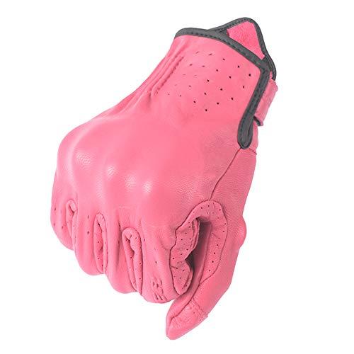 Fast Pro Guantes de motocicleta de cuero de protección de los hombres de la motocicleta negro para toda la temporada pantalla táctil guantes de botón mágico (rosa, S)