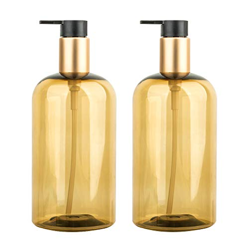 500 ml Seifenspender, 2er-Set Pumpspender aus Kunststoff Leerflasche Soap Dispenser Lotionspender optimal für Küche Bad Flüssigseifen - Transparent Golden
