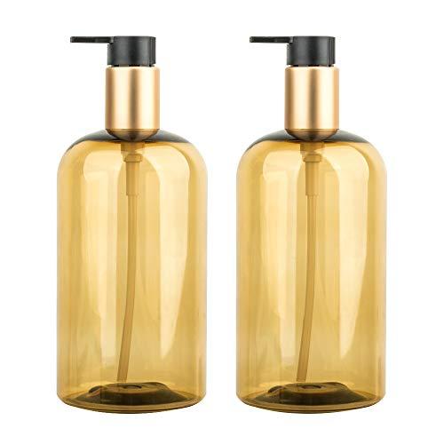 500 ml Seifenspender, 2er-Set Pumpspender aus Kunststoff Leerflasche Soap Dispenser Lotionspender optimal für Küche Bad Flüssigseifen - Transparent Golden