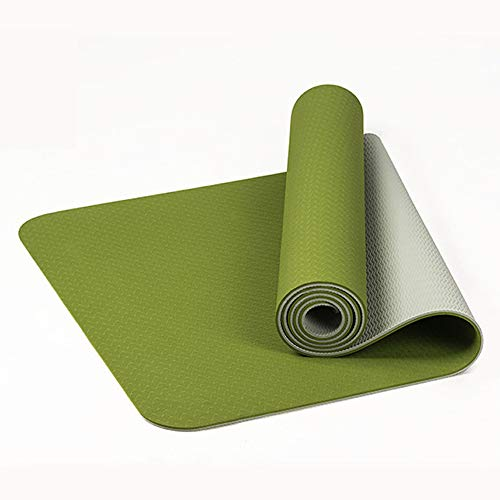 """Junxia Yoga Mat,Eco Friendly TPE High Density Non-Slip, Anti-Tear Yoga Mats by SGS Certified,72""""x24"""" Extra Thick 1/4"""" with Carrying Strap for Yoga Pilates Fitness Exercise Mat(Grass green + Gray)"""
