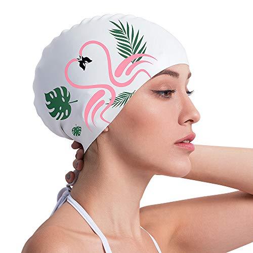 COPOZZ Erwachsene Badekappe, Wasserdicht Schwimmkappe für Damen Mädchen, Lange Haare Silikon Swimming Cap Bademütze für Frauen
